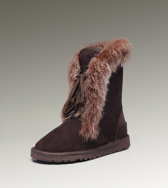 UGG Fox Fur Short 3586 Chocolate Boots